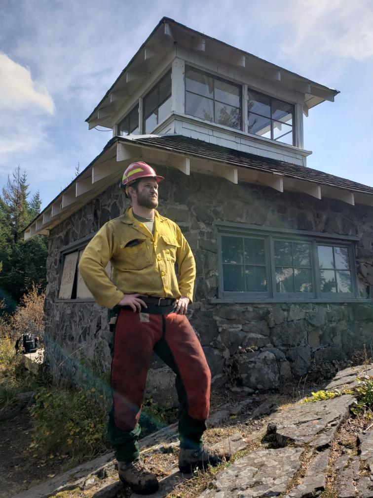 BLM Hydrologist Peter Kauss after clearing flammable debris from around Peachuck Lookout