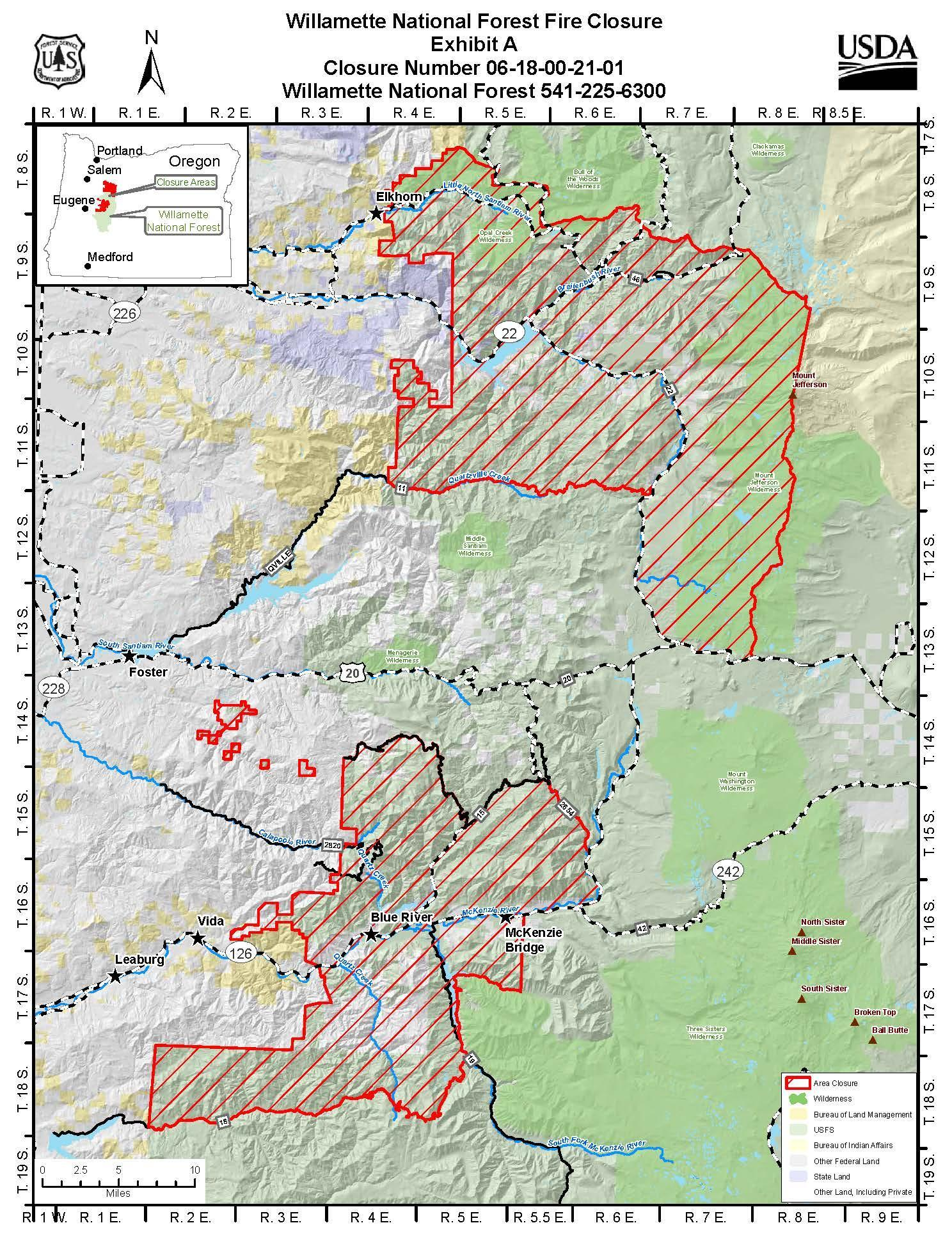 Willamette National Forest Closure 10-08-20