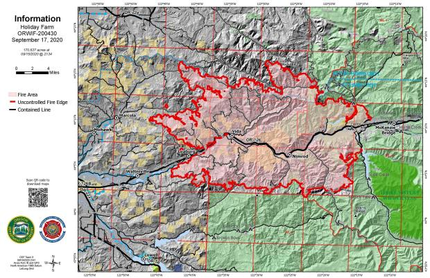 September 17 Perimeter Map of the Holiday Farm Fire