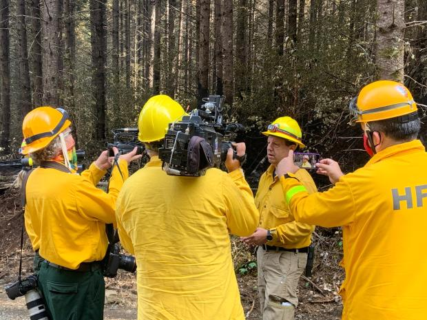 Media interview on the fire