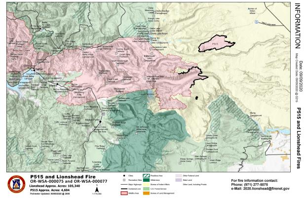Map with fire perimater as it relates to nearby communities