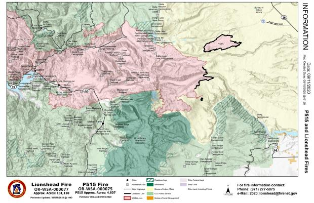 Map showing Lionshead and P515 fire perimeter in relation to nearby communities