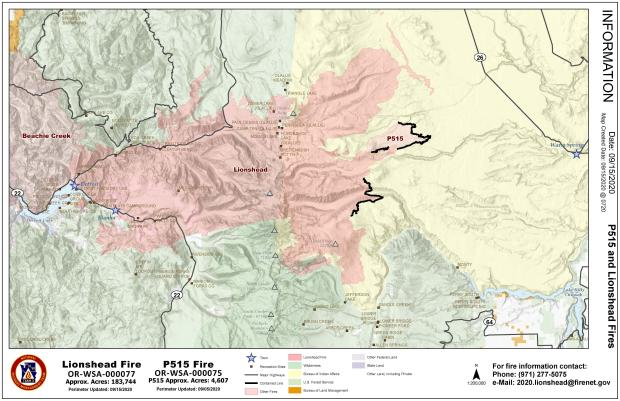 Public Information Map showing fire perimeter as it relates to nearby communities