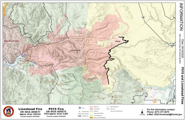 Map showing the Lionshead fire perimeter as it relates to nearby communities