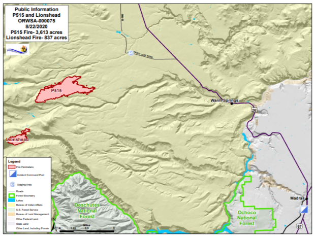 Map P-515 and Lionshead Fires Aug. 22