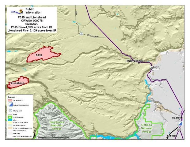 Map P-515 and Lionshead Fires Aug. 23