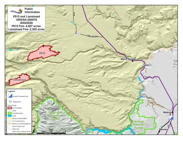 Map P-515 and Lionshead Fires Aug. 24