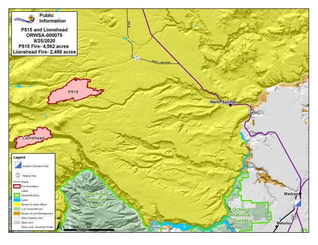 Map P-515 and Lionshead Fires Aug. 25