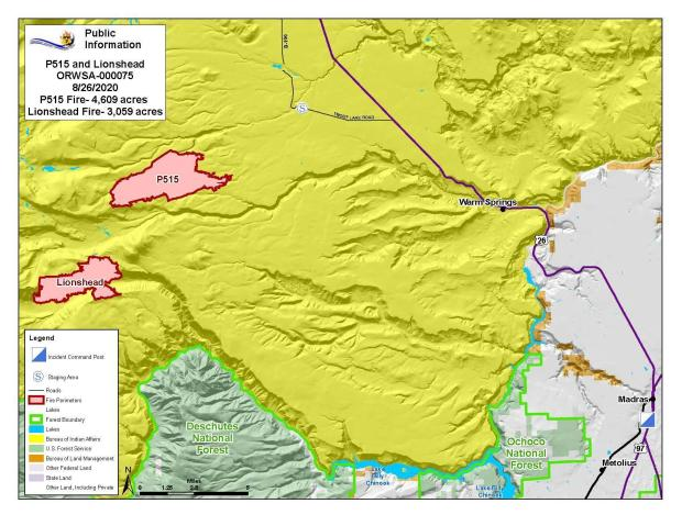 Map P-515 and Lionshead Fires Aug. 26