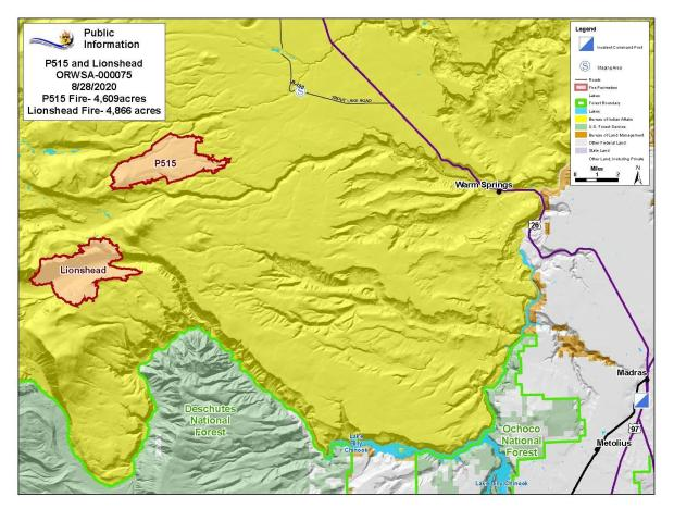 Map P-515 and Lionshead Fires Aug. 28