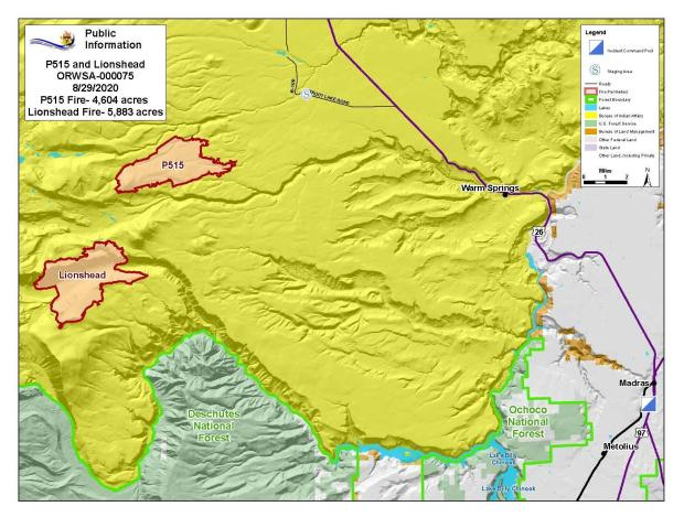 Map P-515 and Lionshead Fires Aug. 29