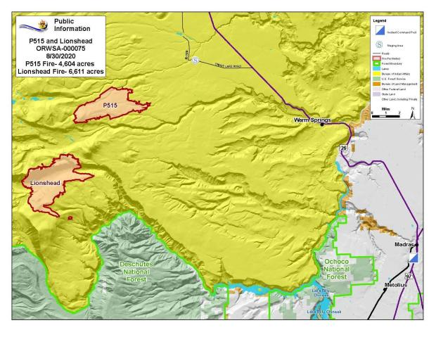 Map P-515 and Lionshead Fires Aug. 30