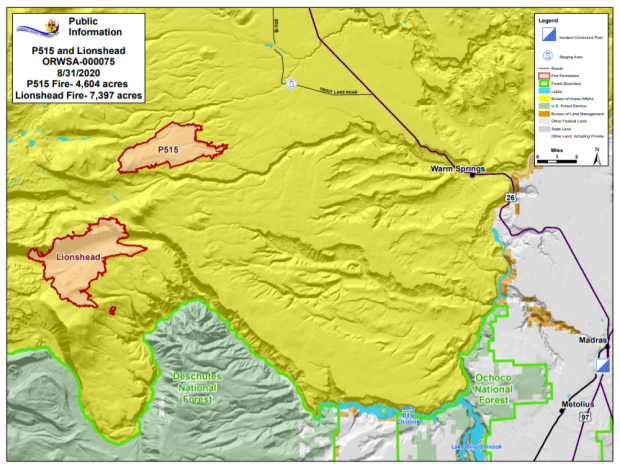 Map P-515 and Lionshead Fires Aug. 31