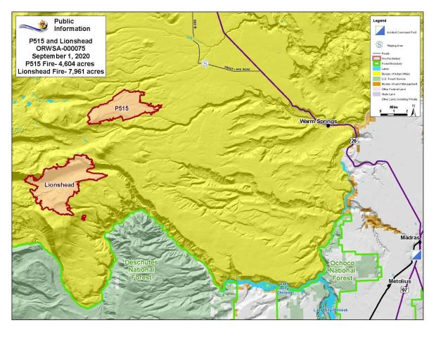 Map P-515 and Lionshead Fires Sep. 1