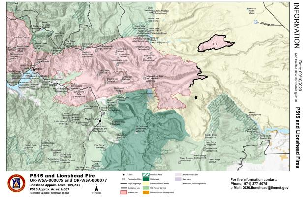 Map showing fire perimeter as it relates to nearby communities