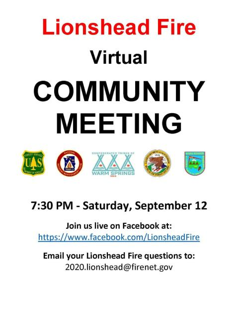 Announcement for virtual community meeting 9/12/20