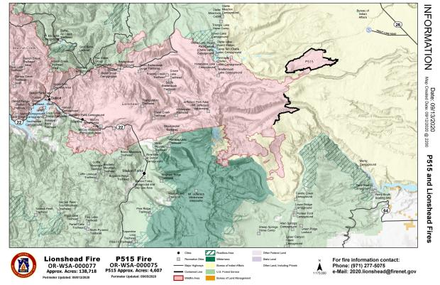 Map showing Lionshead fire perimeter as it relates to nearby communities