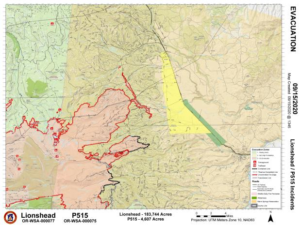 Map showing evacuation levels in Simnasho area relative to fire perimeter