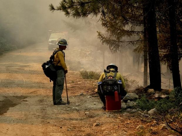 Firefighters along the road