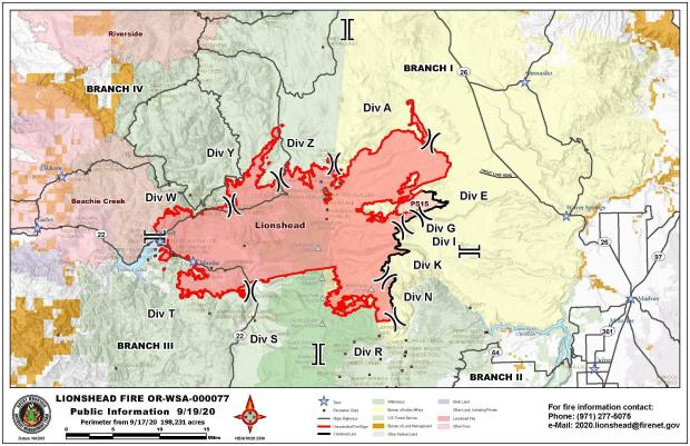 Map of the Lionshead Fire and surrounding area.