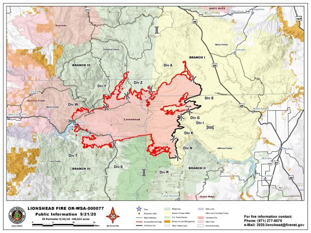 September 21 Fire Perimeter Map showing surrounding areas.