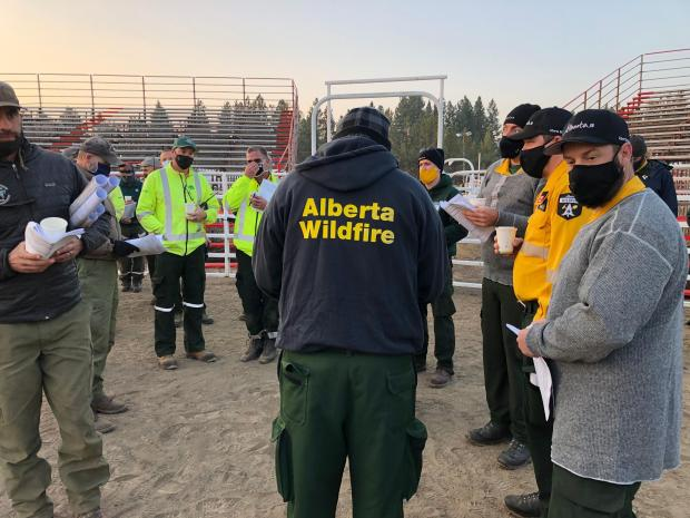 Alberta Firefighters at briefing Sept. 21