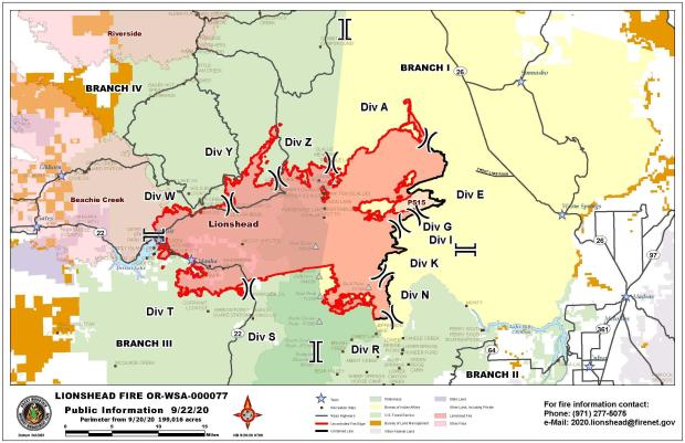 Map shows the fire perimeter and surrounding areas. Little change from previous days.