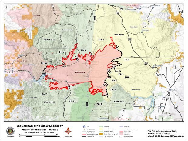 Map of fire perimeter and surrounding area.