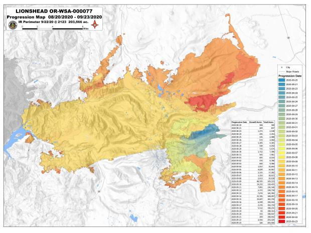 Map shows the daily growth of the Lionshead Fire