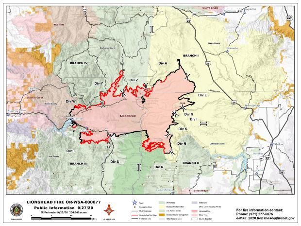 Map of fire perimeter and surrounding area