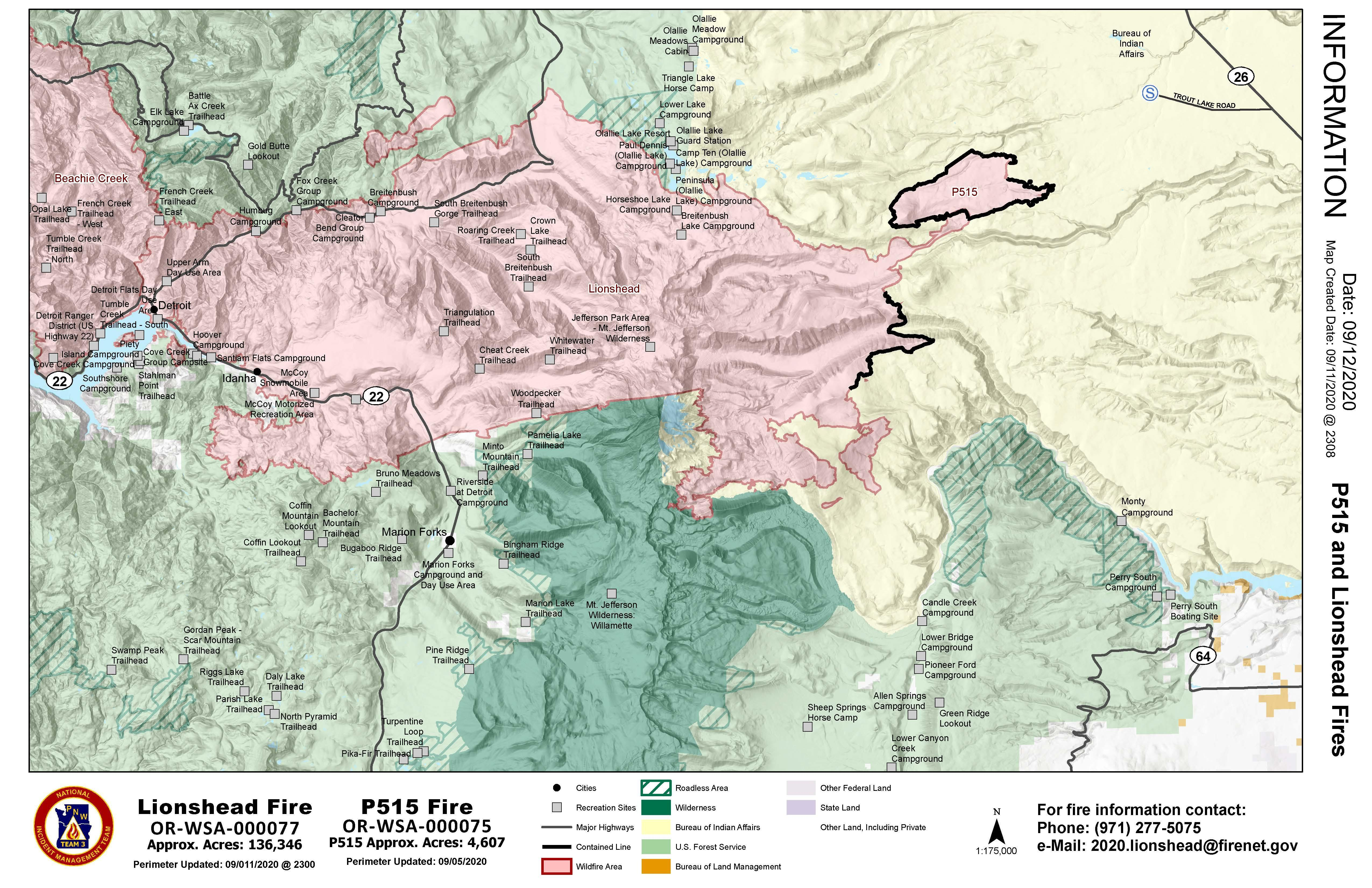Map of Lionshead fire perimeter as it relates to nearby communities