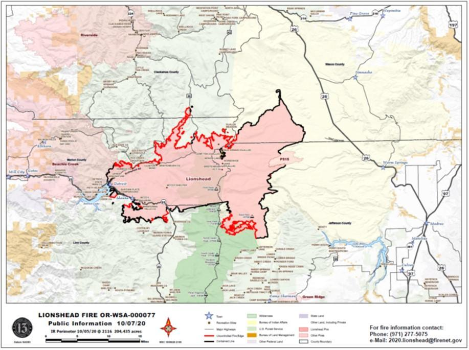 Lionshead Fire Map for Oct. 7, 2020