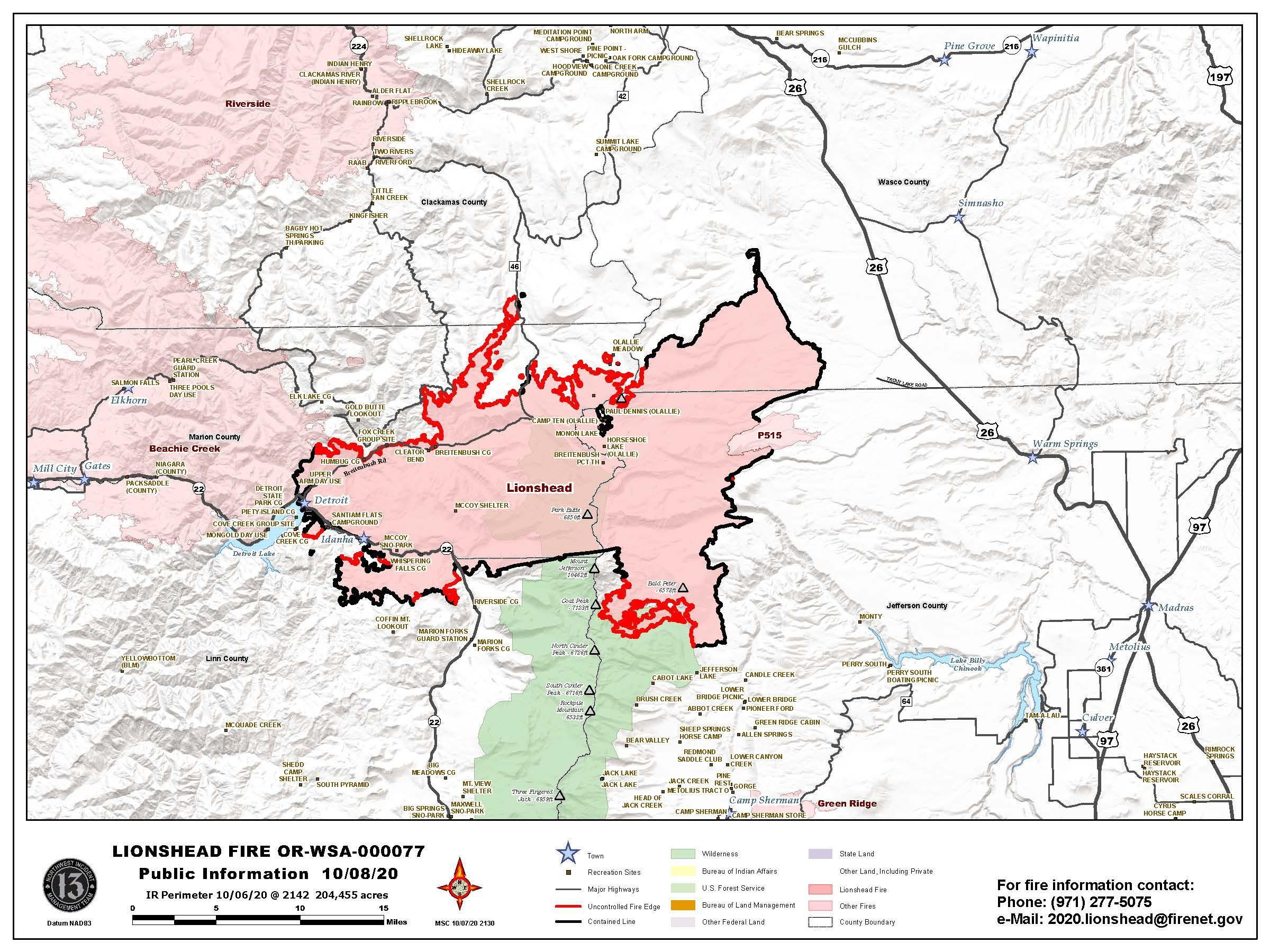 Lionshead Fire Map for Oct. 8, 2020