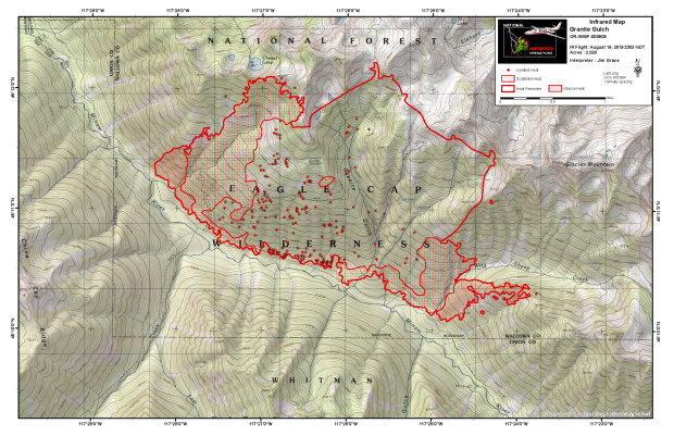 Map of the Granite Gulch Fire perimeter and heat levels based on an infrared overflight on the night of August 19, 2019.