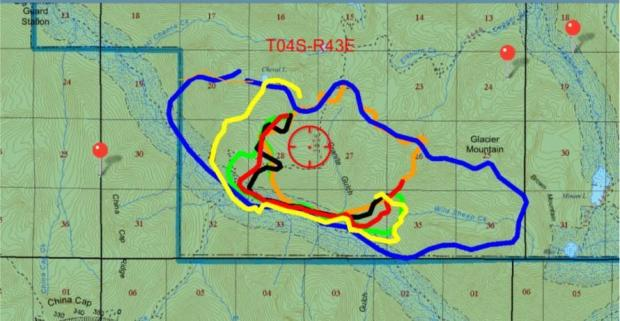 This map shows the spread of the Granite Gulch Fire over the past two weeks