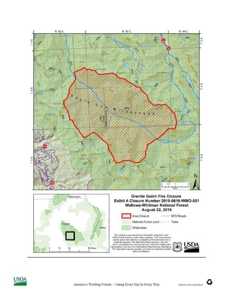 To ensure public safety in and around the Granite Gulch Fire zone, an area closure has been enacted for the area between Rock Creek Trail and Trail Creek Trail which drains into the Minam River, excluding Elk Meadows.