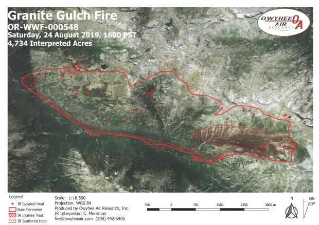 Infrared map of the Granite Gulch Fire the night of Aug. 24