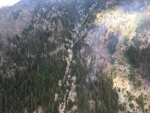 Fire activity in one of the many avalanche chutes in the Eagle Cap Wilderness