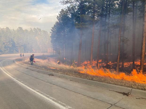 Firefighters conduct a burnout operation along the highway to secure fireline