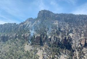 This photo shows a small smoke column coming from a rocky slope in the high Chisos Mountains. It is a hot spot that is still smoldering and putting up smoke.