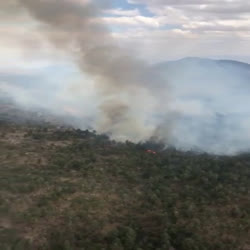 This video shows aerial footage of the Dog Fire on 5.19.21