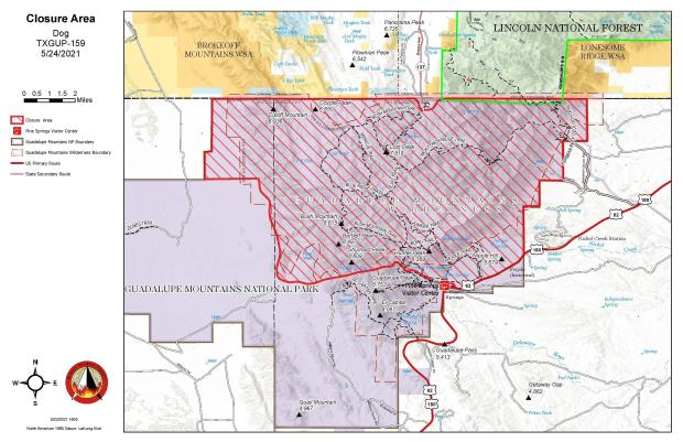 Dog Fire Map showing the closure area