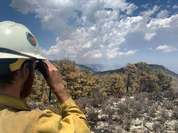 Firefighter monitoring fire activity