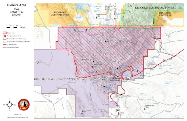 Dog Fire Map showing revised closure area