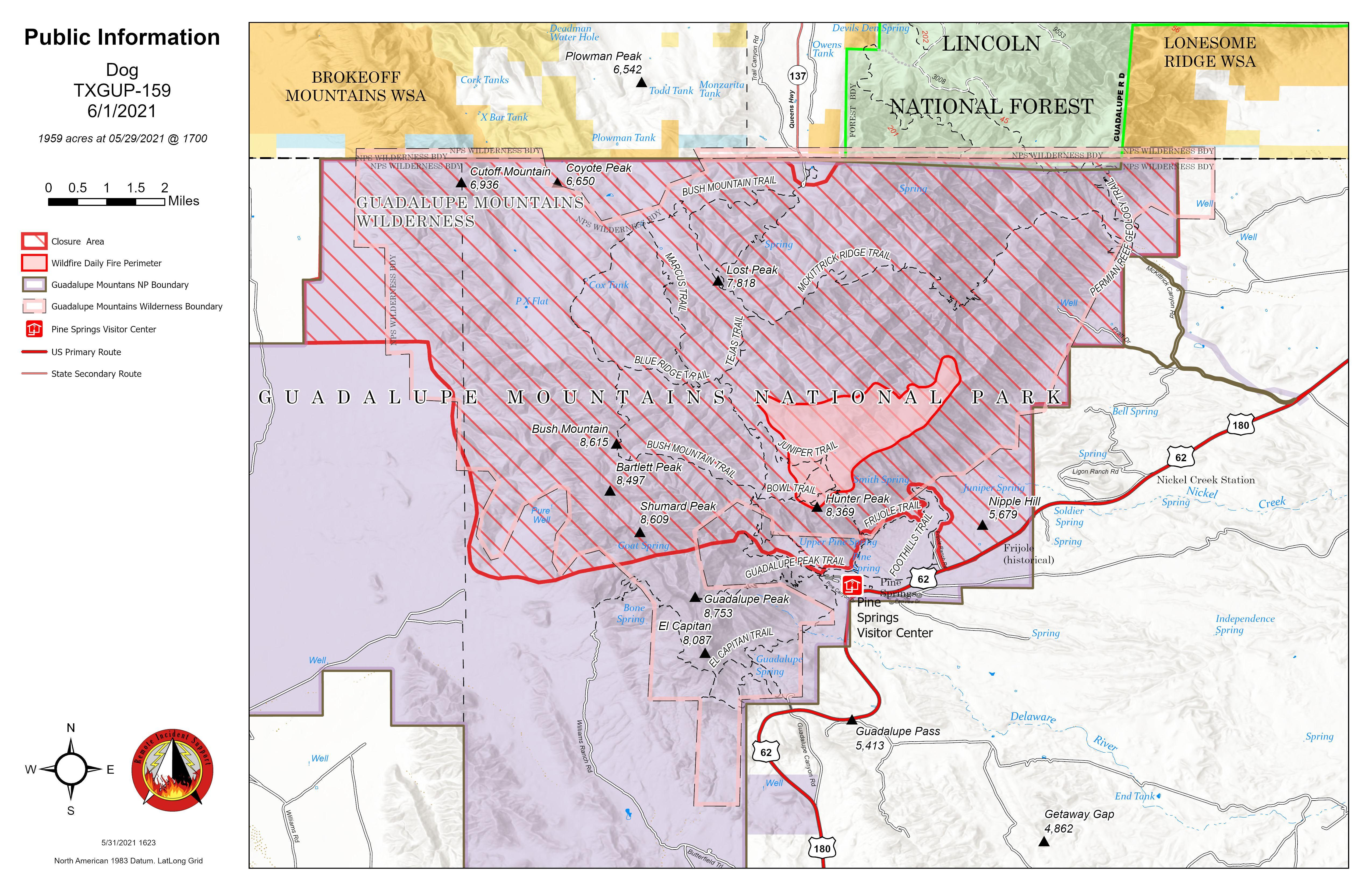 Dog Fie Map showing fire perimeter and closed area