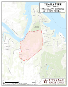 Map of Trails Fire, August 13