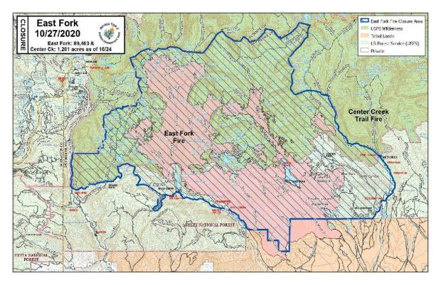 East Fork Fire lifting of road closure map - October 26, 2020