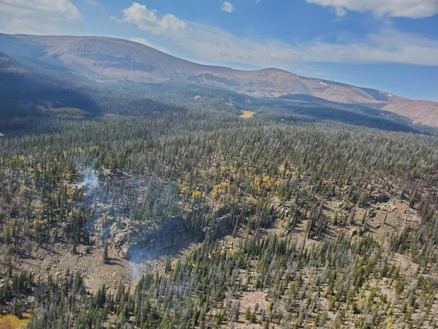 Aerial images of the Center Creek Fire show minimal activity.