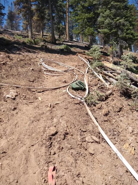 Photo of fire hose within the fire