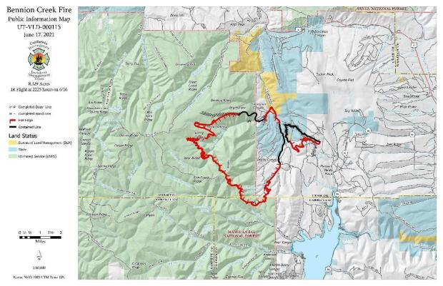 The map shows 34% containment, mostly along the spot east of the fire and the north side
